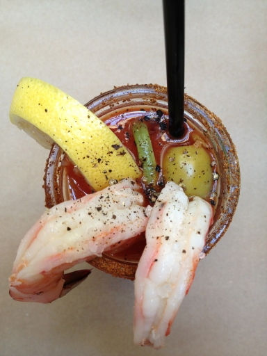 Shrimp Cocktail Bloody Mary at Williamsburg's Le Barricou. Get inside me. (Bloody Mary > Mimosa)