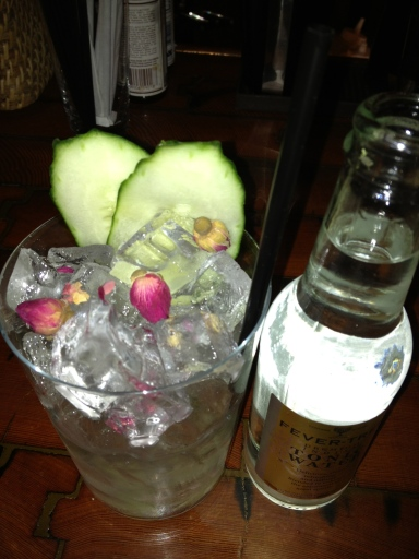 Cucumber Rose (check out dem baby rosebuds!) Gin & Tonic at Cata