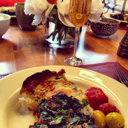 Spinach & Gruyère Quiche with mandatory mimosas